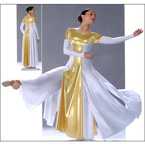 """Ceremonial"" Jumpsuit / Dress Style #: 0235/ OSD-124A. Matte Lycra empire jumpsuit with palazzo styled pant leg and an open seam skirt. The dress has a matching front and back foil lycra panel and bodice. Pant leg is extra long and may be cut to desired length. Top is front lined.