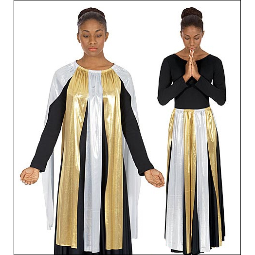 Metallic Streamer Skirt / Top Style #: Euro-14808. Metallic Streamer garment. Can be worn as a Top or as an overlay Skirt with your Liturgical Outfit. Shown over Black Dress # 512- sold seperately.