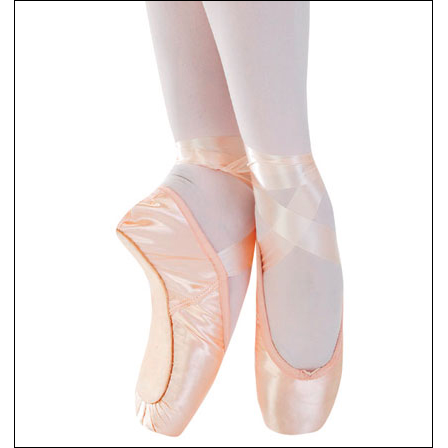 "Capezio - ""Plié II"" Pointe Shoes Style #: 197. Made for dancers with a very broad, square forefoot and fairly even, medium to short length toes. The moderate strength shank will support your arch as your foot grows stronger. Moderate box strength and light side wings provide durability and comfort when transitioning to elevé. The wider platform gives you stability en pointe. Like the Plié I, the vamp extends beyond the toe box for support en pointe and flexibility during transition."