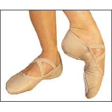 "Leather -Split-Sole Ballet Slippers Style #: 2027. Capezio®'s leather ""Juliet"" split-sole ballet slipper features a sculpted arch construction with no center seam, contoured suede sole patches, moisture-absorbent, antimicrobal brushed cotton sock lining, and drawstring. Elastic included."
