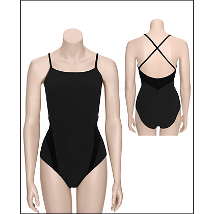 Fashion Leotards-High Neck Cross Back Cami Leotard Style #: 2515. Solid black leotards with intricate matte velour inserts are subtle touches that catches the eye with each movement. High neck Cross-back Camisole leotard has wrap around and arm. Crisscross back straps ensure good looks and secure fit. Extra support from shelf bra.
