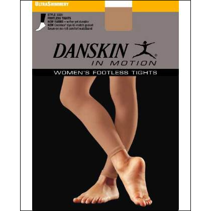 Danskin Footless Shimmery Tights Style #: 3331. Danskins Shimmery Tights.Semi-sheer and very supportive.