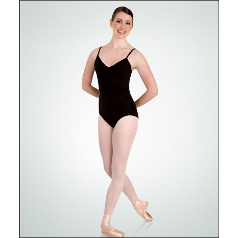 Description: V-front camisole leotard with seamless support built-in