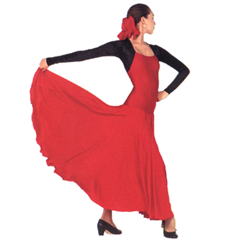 """Bolero"" Flamenco Dress Style #: OSD-297. Square neck, long sleeve, stretch Velour bolero top and a matte lycra 6 gore polyester dress,put together for a classical flamenco look.