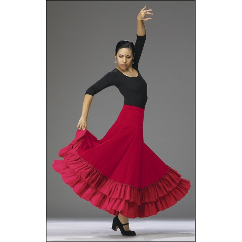 FLAMENCO REHERSAL SKIRT Style #: BT-9100. EXTRA LONG AND FLOWY DOUBLE RUFLE FLAMENCO REHERSAL SKIRT,