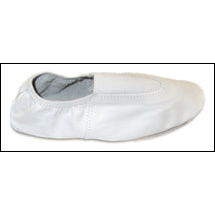 Athenian-Leather Gymnastic Slippers Style #: 110 - DS2273. Gymnasts appreciate the snug fit provided by the elastic binding and by the elastic V insert over the instep. The flexible suede sole is enhanced by the rubber patches on the ball and heel of the foot. This feature allows for improved control and traction. This shoe is ideal for workouts and vaulting.FULL SIZES ONLY.