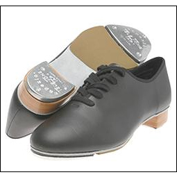 "Women's Coppola® Tap Shoe Style #: CG55. Made of seamless, full-grain leather, this shoe is equipped with TeleTone taps that are screwed in with a fiberboard. The 5/8"" solid leather heel is contoured to match the shape of the heel tap. The 3/4"" non-skid rubber pad fits the entire width of the sole. Featuring a full Cambrelle socklining, a box toe and a flexible, shankless, one piece insole for comfort."
