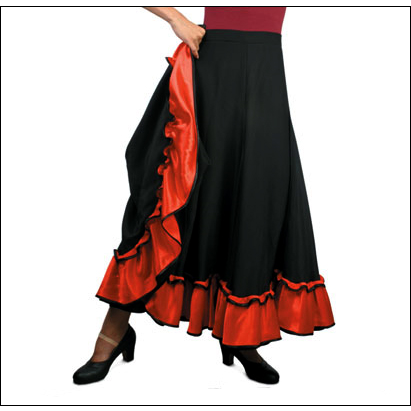 "''Adora'' Flamenco Skirt By Sansha Style #: D0911. Long and Flowy Black Flamenco skirt with contrasting Red ruffle.Elastic waist. Small-34"" long, Medium-37"" long, Large-39"" long."