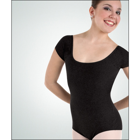 Cotton Rib Cap Sleeve Leotard Style #: FC200. Cap sleeve leotard has a low back and features neck and arm binding finish.