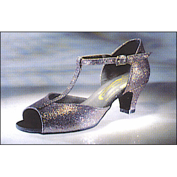 """Francesca"" Ballroom Shoe By Freed Of London Style #: FRANCESCA. Practice Ballroom Shoe. Low heel, open toe, T.strap design with a stable 1-1/2"" cuban heel. Gold sparkles over black base.Suade sole. Available in child,young adult,and adult sizes."