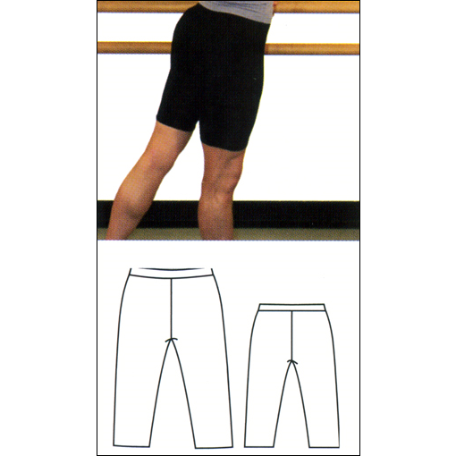 Bermuda Length Shorts Style #: OSB-709. Bermuda length bike shorts.10 inch inseam. Wide comfort waist.Fitted stretch Nylon/Lycra fabric. Ideal for dancing or working out.
