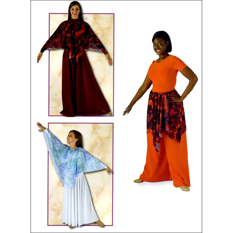 Printed Liturgical Cape Or Skirt Style #: MS-80731. Pointed multi color printed sheer crepe skirt(or Cape) with elasticized waist.<br>