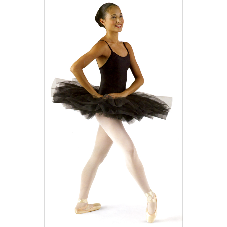 Pancake Tutu Style #: MS-. Seven-tier graduated net tutu with top skirts of organdy, chiffon and tulle on a Nylon Lycra hidden compression panty.<br>