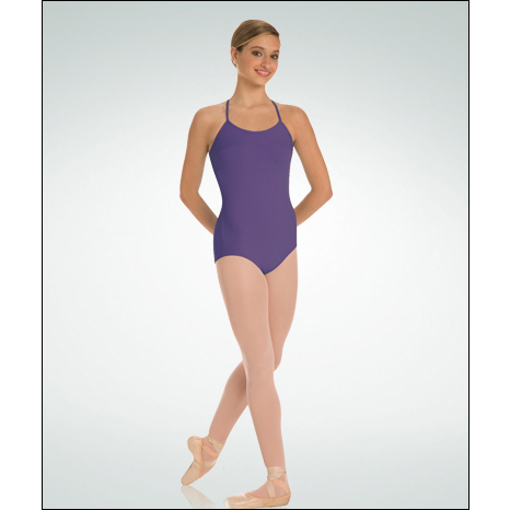 French Cut Leotards Cross Back Camisole Leotard Style #: P821. Cross Back Camisole Leotard. Flattering front darts. Front & back yokes feature a flattering cross back. Cross back camisole straps. Power mesh supportive shelf bra lining.