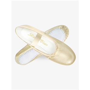 Child Gold/Silver Leather Full Sole Ballet Slipper