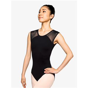 "Womens ""Poised"" Mesh Open Back Cap Sleeve Leotard"